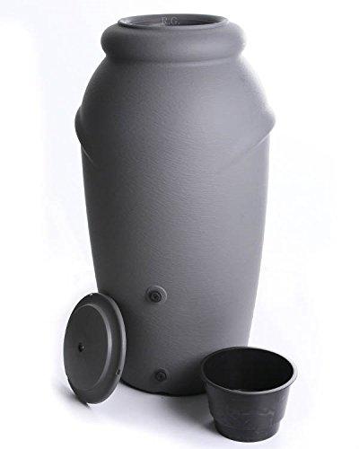 Regenwassertonne Regentonne Regenbehälter Regentank Amphore 210L 3 Farben Wasserhahn wählbar (Grau mit Wasserhahn)