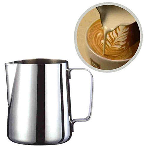 MMLsure® Milchkännchen,Edelstahl Milchschaum Krug Kännchen,Milch Aufschäumen für Cappuccino und Latté, Zieh Blumen Tasse,150/200/350/600/1000 ml,Silber (600 ml)
