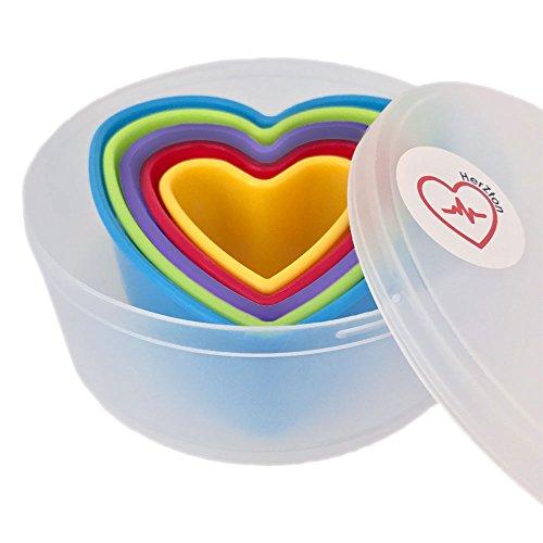 HerZton ♥ Ausstecher-Set ♥ 5-teilig PLUS Aufbewahrungsbox ♥ Auswahl an Designs ♥ Abbildung: Herz