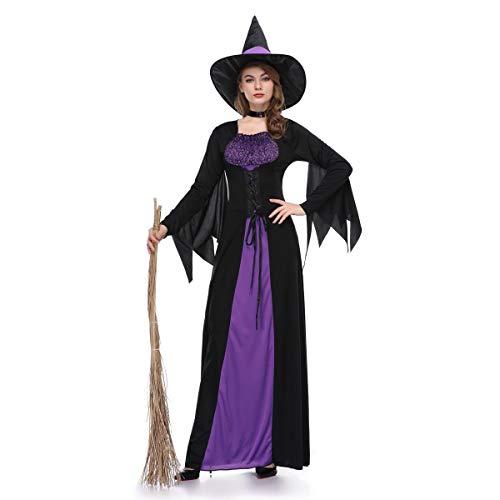 HUAM Abbigliamento Halloween Nuovo Cosplay Femminile Fantasma Strega Costume Viola Abito Lungo Gonna Natale Carnevale Stage Abbigliamento (Colore : 1, Dimensione : M)