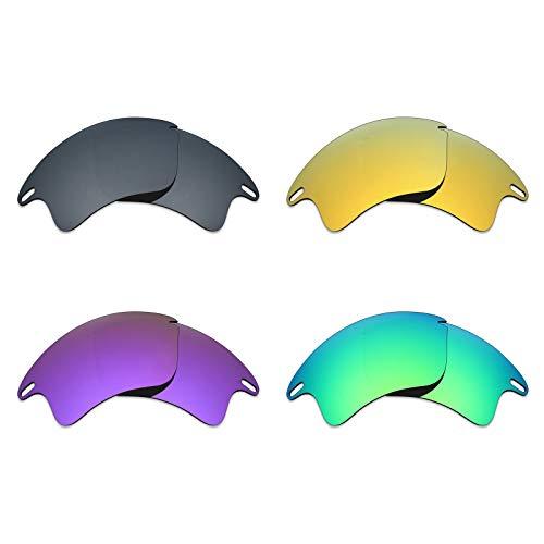 MRY 4Paar Polarisierte Ersatz Gläser für Oakley Fast Jacket XL sunglasses-black Iridium/24K Gold/Plasma violett/Smaragd Grün