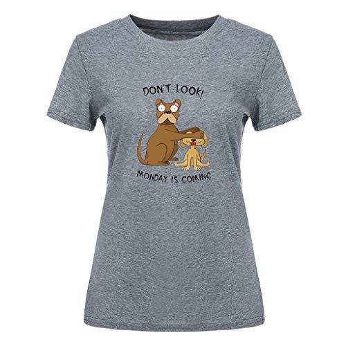 YOcolour Damen T-Shirt Kurzarmshirt Basic Tops Kurzarm Tee Cartoon-Muster Druck Shirt Sommer Große Größe Tee Shirt Classics Freizeit Oberteile(Dunkelgrau,M)