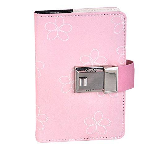 Cheerlife Leder Tagebuch mit Schloss, DIN A5 A6 Notizbuch mit Passwort Reisetagebuch mit Zahlenschloss liniertes Notizblock für Mädchen (Pink Blume, A5) (Mädchen Pink Code)