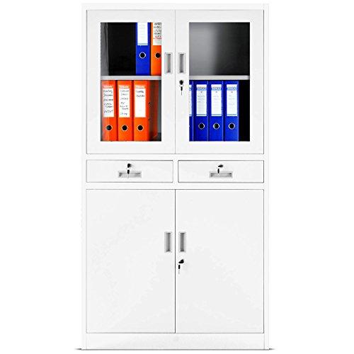 Büroschrank weiß schubladen  Aktenschrank Glastür - Glasschränke Produkt- & Preisvergleiche!
