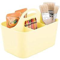 mDesign Cesta de plástico portátil – Cestas de almacenaje pequeñas para Manualidades o como costurero – Organizador de lápices, Botones, Tijeras y Pinturas – Amarillo Claro