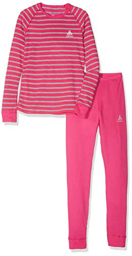 Odlo Kinder Set Active Originals WARM Kids Unterwäscheset, Beetroot Purple-Grey Melange-Stripes, 104