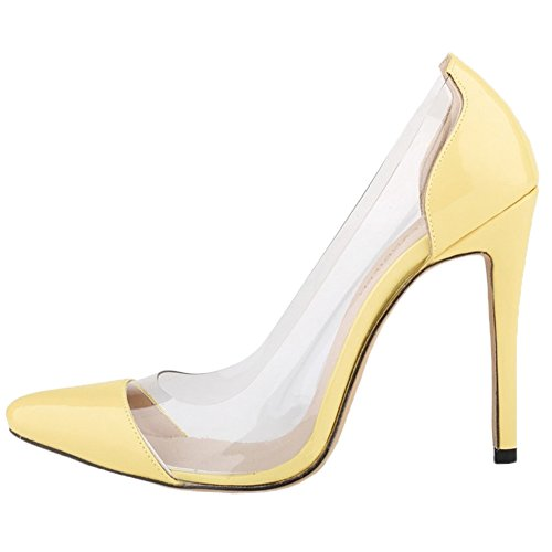 HooH Femmes Transparent Splicing Pointu Stiletto Escarpins Jaune