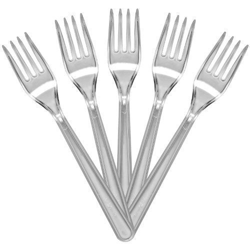 100 of Luxury Quality Clear Forks Plastic Cutlery Weddings Parties Picnics