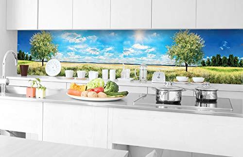 DIMEX LINE Küchenrückwand Folie selbstklebend Baum AUF Wiese 350 x 60 cm   Klebefolie - Dekofolie - Spritzschutz für Küche   Premium QUALITÄT