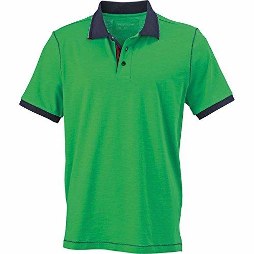 JAMES & NICHOLSON Herren Poloshirt, Einfarbig vert fougère et bleu marine