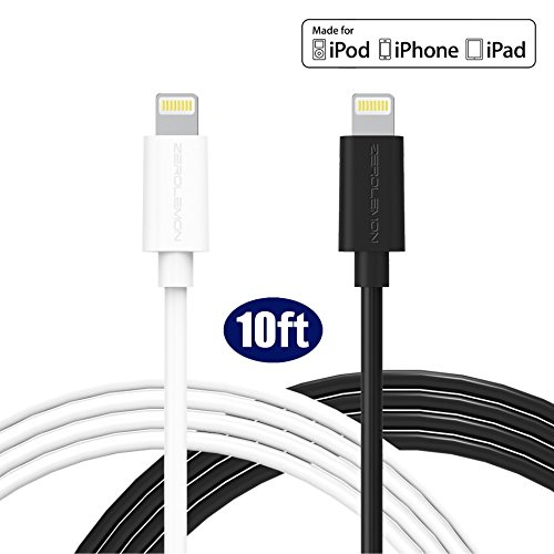 [Apple MFi Certified] ZeroLemon® Blitz auf USB-Kabel 10ft / 3m- PVC Weiß+schwarz [ 2 pack] (Ipod Touch 5 Zerolemon)