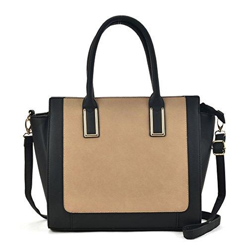 Sally Young Fashion Women Contrast Tote Bag Top Handle Satchel Handbags (Apricot) - Handle Satchel Bag