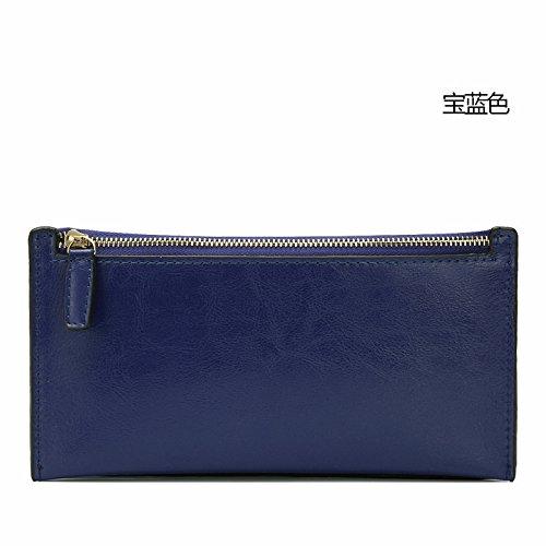 Mefly Damen Leder Geldbörse Handtasche Neue Große Kapazität Royal Blue