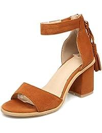QIN&X Chaussures Femmes Sandales à Lanières Talons Aiguilles,Black,34