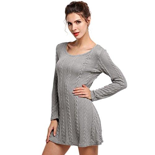 Vestido de las mujeres, Amlaiworld Jersey de cuello redondo de manga larga Slim Casual vestido de punto (M(EU:36), Gris)