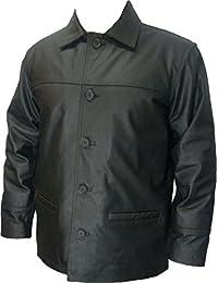 UNICORN Hommes Classique Manteau de cuir - Réel cuir veste - Noir #S8