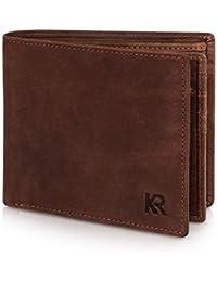 KRONIFY Büffelleder Geldbeutel mit RFID Schutz und Doppelscheinfach – TÜV geprüft – 14 Kartenfächer – Edle Geschenkbox