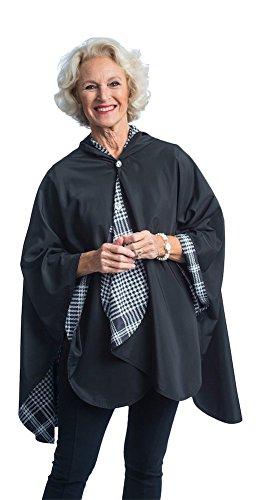 RainCaper Damen Regenponcho Reversibel Regendicht mit Kapuze Cape In Herrliche Ultra weich Farben Einheitsgröße Black & Bw Houndstooth Plaid