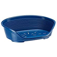 Ferplast Plastic Kennel for Dogs and Cats Siesta Deluxe 2, Animal Basket, Perforated Bottom, Anti-Slip, Comfortable Chin-Rest, Blue, 49 x 36 x 17.5 cm