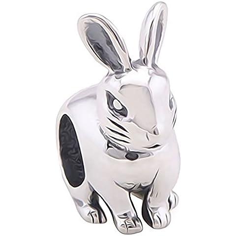 Conejo de cuenta de plata - auténtica 925 de plata de ley para pulsera de cuentas de - regalo se envía