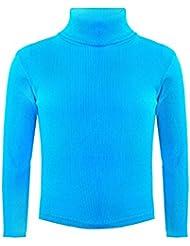 Jersey de algodón estriado para niño y niña de cuello vuelto y manga larga.