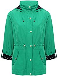 M&Co Ladies Lightweight Three Quarter Length Tabbed Sleeve Hooded Popper Front Parka Jacket