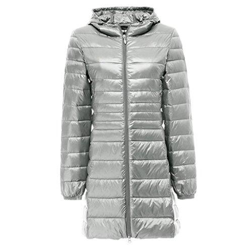 Topgraph Damen Daunenjacke Lang Leicht Kapuzen Gewicht Daunenmantel Down Coat Grey