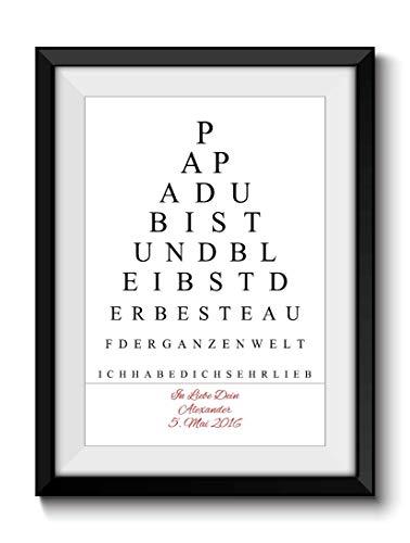 Geschenk-Idee DIN A4 Print PAPA SPRUCH Personalisiert ohne Rahmen Danksagung Geburtstag
