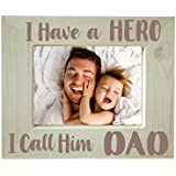 Yaya Cafe Fathers Day Gifts Engraved Photo Frame Wooden - I Have A Hero I Call Him Dad