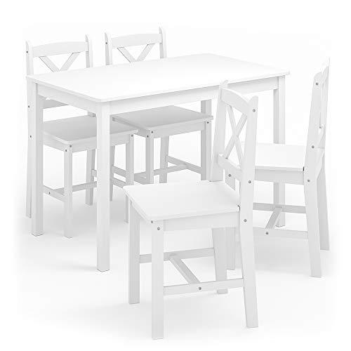 Vicco Esszimmerset Alara Tischgruppe Massiv Holz Essgruppe Esstisch Weiß Grau (Weiß)
