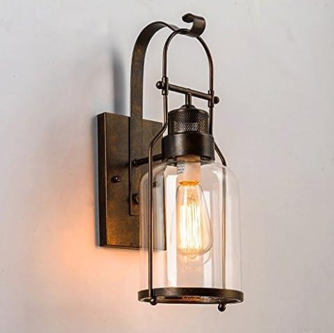 Creative Rural hallway bedroom bedside glass wall lamp retro style bar industrial lighting ( Color : Gray )