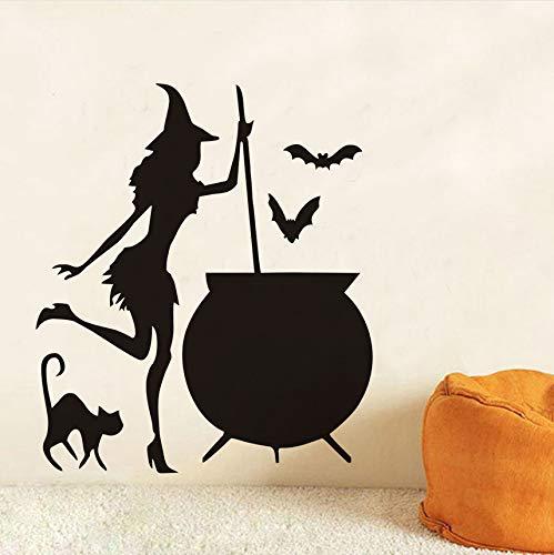 Fyyanm Hexe Cauldron Potion Fledermäuse Schwarze Katze Vinyl Diy Wandaufkleber Für Wohnzimmer Kunst Tapete Hause Halloween Dekoration Zubehör43X37 cm