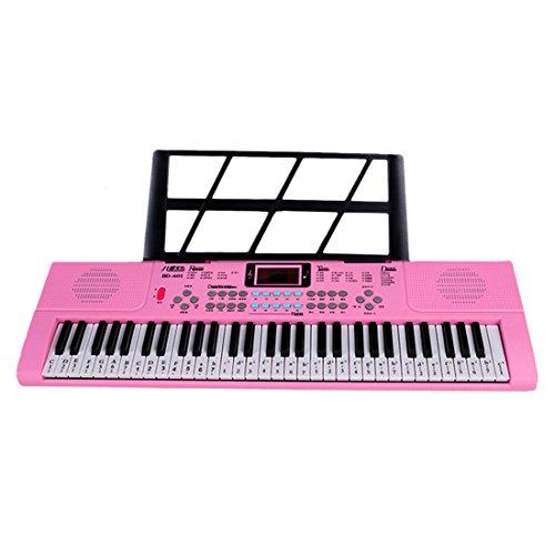 LVPY 61key Kinder Musical Mikrofon Klaviere Keyboard Schlüssel Multifunktions Keyboard Piano mit Mikrofon Sing Musikalisches Spielzeug,Rosa