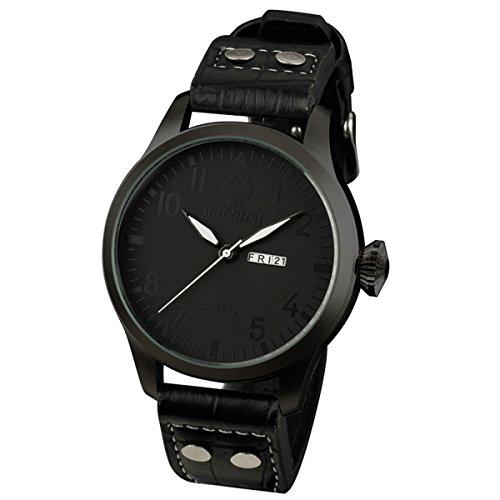INFANTRY® Herren Analoges Quarzwerk Armbanduhr Tag Datum Armee Outdoor Schwarz Leder Armband