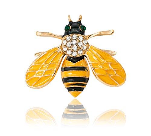KristLand Gold Farbe Cute Emaille Zarte Bee Tiere Brosche Pin mit Austrain Kristall Halloween/Herren/Frauen/Outfits/Geschenk-Box