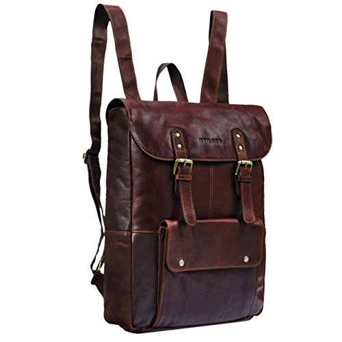STILORD 'Manila' Vintage Leder Rucksack Damen Herren XL Lederrucksack DIN A4 braune Rucksackhandtasche mit 15,6 Zoll Laptopfach großer Daypack aus echtem Leder, Farbe:cognac - dunkelbraun
