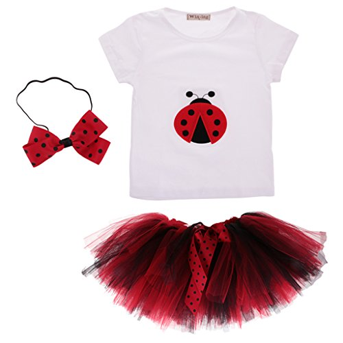 Gazechimp Kinder Mädchen Dame Kostüm T-Shirt Tutu Rock Party Fancy Dress Outfits - L
