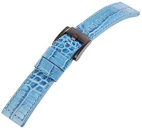 TW Steel Echt Leder Armband, 22 mm, blau, schwarz, Schließe