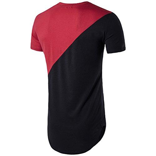 CHENGYANG Sommer der Männer Unregelmäßige Saum Stitching Langes T-shirt Rot