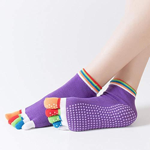 NYMZR Frauen Mikrofaser Yoga Socken rutschfeste Pilates Five Toe Barre Ballett Tanz Workout Fitness-Die Farbe Ist Dunkelviolett