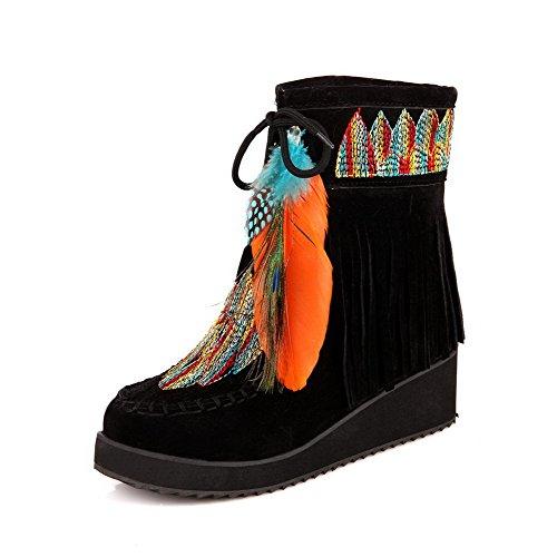 AllhqFashion Damen Mittler Absatz Gemischte Farbe Rund Zehe Schnüren Stiefel mit Fransig Schwarz