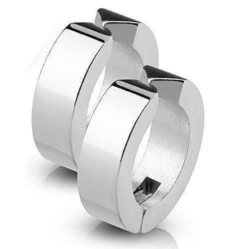 Bungsa Silber Creolen klassisch Edelstahl - 1 Paar - (Ohrringe Ohrschmuck Ohrklemmen Studs Damen Frauen Herren Mode Earrings)