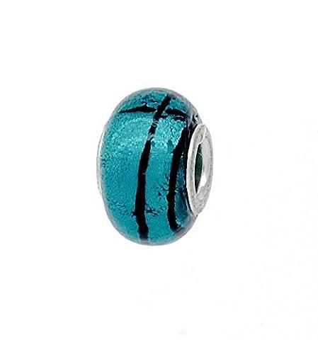 Perle Bleu en verre de Murano et feuille d'argent–Bracelet Charms–Pandora