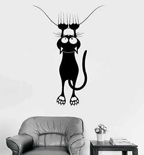 guijiumai Vinyl Aufkleber Wand lustige Katze Pet Shop Tierklinik Dekor Wandaufkleber Fenster Poster Wandtattoos für Kinderzimmer Kinderzimmer schwarz 30x42 cm