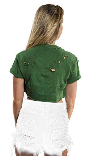 Frauen reizvolle Art und Weise mit hohen Taille Side Schnürsystem Kreuz zerstört Ripped Holes Jeans-Shorts Weiß