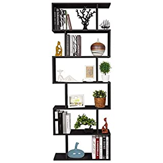 HOMFA S-Form Bücherregal Raumteiler Regal Standregal Ablageregal Büroregal Aktenregal Wandregal für Diele, Flur, Büro mit 6 Ablagen 190.5 * 70 * 23.5 cm schwarz(H x B x T)