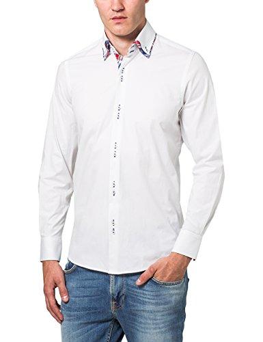James Tyler Herren Freizeithemd mit Design Details, Slim Fit, bügelleicht, Gr. Kragenweite: 39 cm, Weiß