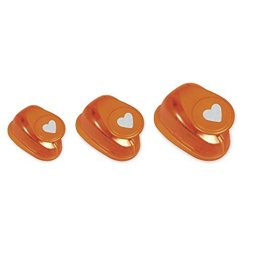 Rayher Hobby 69102000 Motivstanzer Set Herzen, ø 1,6 cm + ø 2,54 cm + ø 3,81 cm, geeignet für Papier/Karton bis zu 200g/m²