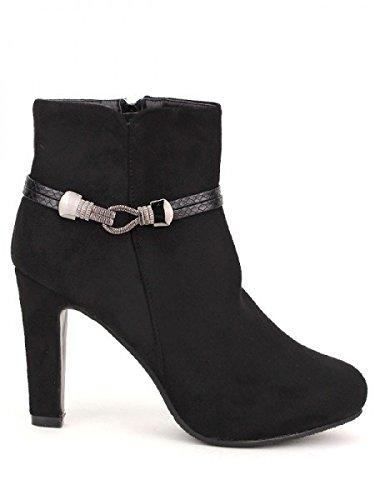 Cendriyon, Bottine Noire GUESTINE MODA Chaussures Femme Noir
