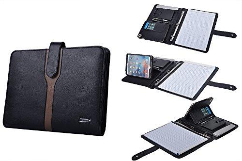 Manager Leder 3-Ring-Binder-Portfolio für iPad mini 4 und Briefpapier,Schwarz